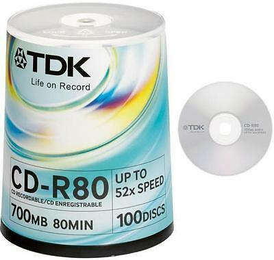 TDK Life On Record CD-R80 CD Recordable 700mb 52x Speed 100 Discs