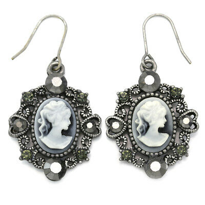 Cute Antique Silver Tone Heart White Gray Cameo Dangle Earrings Fashion Jewelry