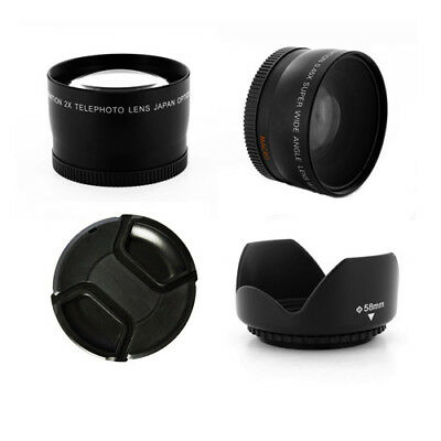 Wide Angle and Telephoto Lens Cap Kit 58mm for Canon Rebel T1i T2i T3i 18-55mm