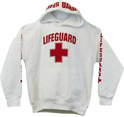 Lifeguard Life Guard Kids Pullover Hoodie Sweatshirt Red Boys Girls Youth XS - L