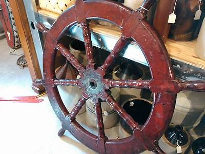 "Large 47"" Old Wood Ships Wheel"