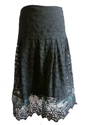 Black Gothic Baroque Vampire Lolita Lace Embroidery Vintage Skirt