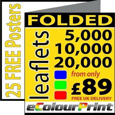 A3, A4 or A5 Folded leaflets / flyers / Menus on 150gms Printed in Full Colour