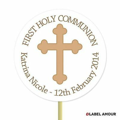 20 PERSONALISED Cup Cake Toppers First Communion Christening Cupcake Decoration