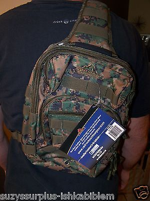 """RED ROCK OUTDOOR GEAR Woodland nylon ROVER SLING BACKPACK 12""""L x 8""""W x 8""""D E7088"""