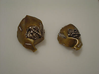 Brass & Sterling free form clip earrings statement piece high impact signed