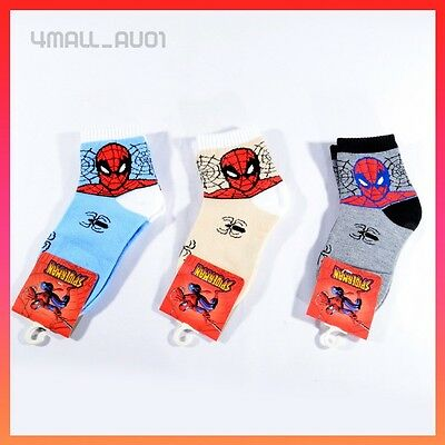 1 Pair New Spider-man Kids Boys Baby Ankle Socks Sports Sz