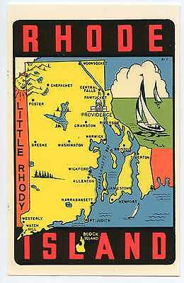Vintage RHODE ISLAND travel auto window water decal 1960s