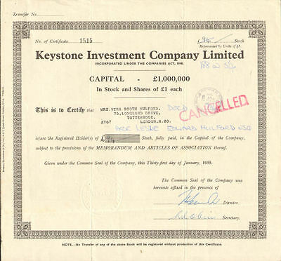 Keystone Investment Company Limited 1955 London England stock certificate share