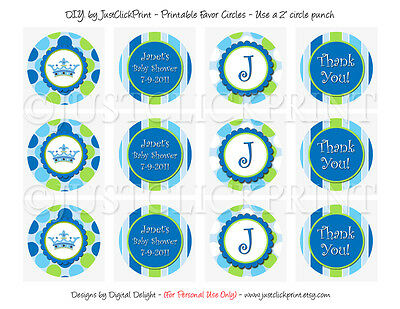Little Prince Crown Favor Tags Cupcake Toppers Baby Shower
