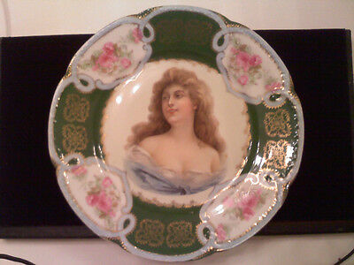 Antique Dresden Art Gallery Hand Painted Lady Bust Plate- Made in Austria- Old