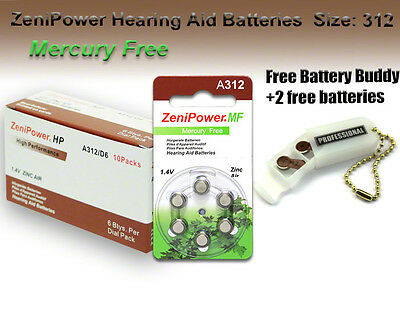 60 ZeniPower MF Hearing Aid Batteries Size 312 +Free Keychain/2 Extra Batteries