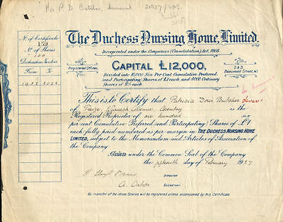 The Duchess Nursing Home Limited > 1927 England stock certificate share