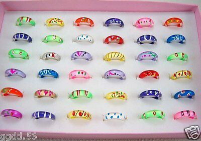 Wholesale 15pc/105pc Mixed Thin Little Resin Lucite Kids/Children's Rings Jf484