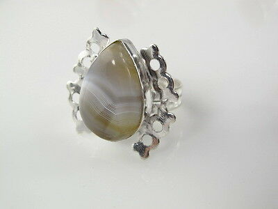 Amazing Natural Agate Silver Ring Size 9.75    AGR246