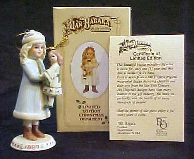 "1987 Jan Hagara ""Holly"" Christmas Ornament Mint In Box"