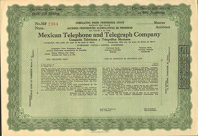 Mexican Telephone and Telegraph Company   stock certificate Mexico pref. share