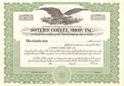 Soter's Coffee Shop   collectible New York stock certificate share scripophily