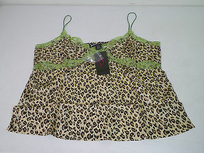 Woman's Susan Lucci Hsn Leopard With Green Lace Silk Camisole Size 20W New