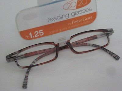 Foster Grant 1.25 Reading Glasses 20/20 Contemporary Print Brown New Eyeglasses