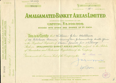 Amalgamated Banket Areas Limited > Africa mining stock certificate share