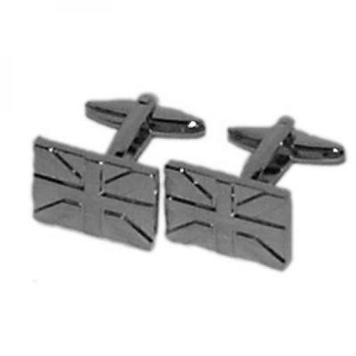 Silver Plated Union Jacks Cufflinks British Flag Royal Cruise Present Gift Box
