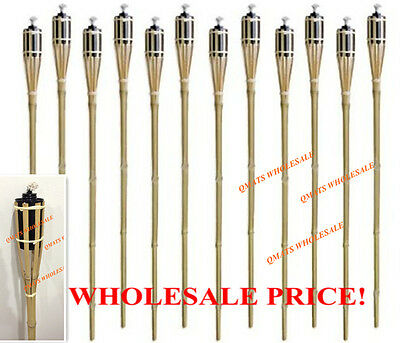 """6 Pcs 48""""  NEW BAMBOO TIKI TORCHES Yard Party Garden Lamp Mosquito Metal"""