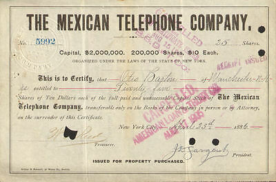The Mexican Telephone Company   1880s stock certificate Mexico share