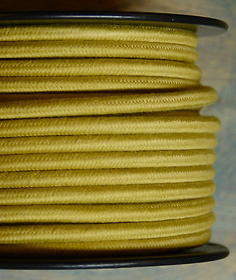 Yellow/Gold Cloth Covered 3-Wire Round Cord, 18ga. Vintage Lamps Antique Lights
