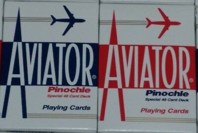 2 Decks AVIATOR PINOCHLE RED BLUE Playing Cards by Bicycle