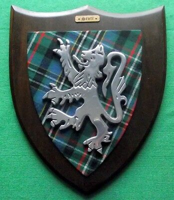 "Huge Vintage Scottish Clan Scott Tartan Oak Plaque Crest Shield 13"" X 11"""
