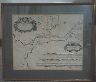 Rare Circa 1680 Map for Lord Dartmouth England G. Collins King's Hydrographer