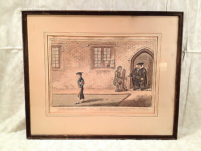 "Antique Colored Engraving of ""Rake's Progrefs at the University"" Humphrey 1806"
