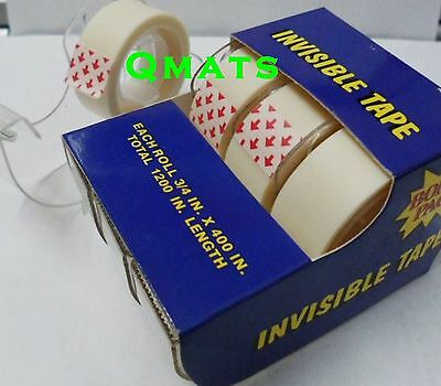 "3 Rolls Universal Invisible (Scotch Tape 3/4"" ) Office School Matte Tape  1200"""