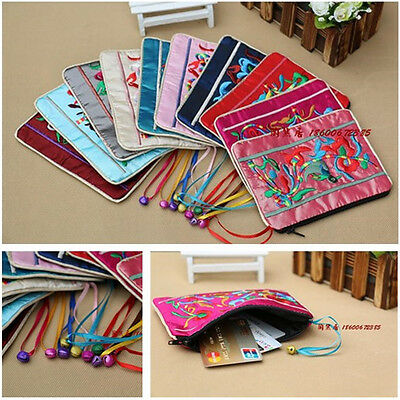 Wholesale10pcs Chines Ethnic Silk Embroidery Phone Pouches Coin Purse Wallet Bag