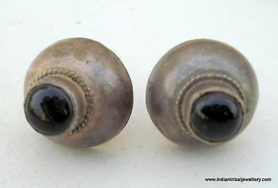 Vintage Antique Tribal Old Silver Ear Stud Earrings Ind