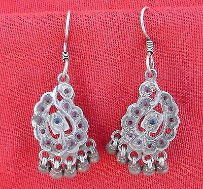Antique Tribal Old Silver Glass Stones Earrings Pair