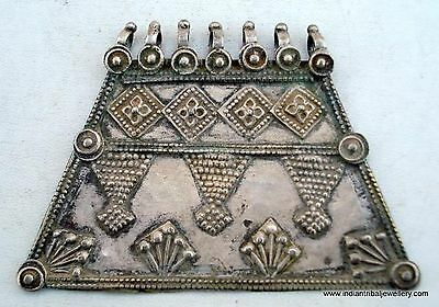 Vintage Antique Tribal Old Silver Pendant Rajasthan Ind