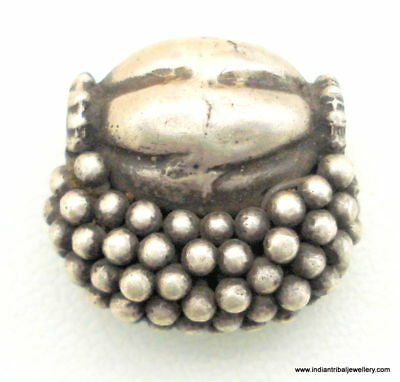 Vintage Antique Tribal Old Silver Bead Pendant India