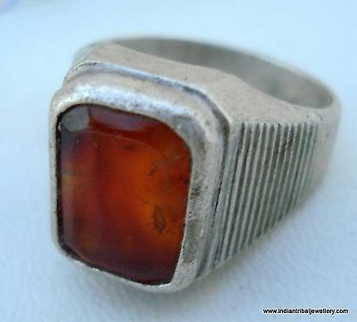 Antique Tribal Old Silver Gomed Gemstone Ring India