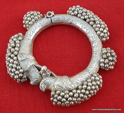 vintage antique collectible tribal old silver bracelet bangle cuff handmade
