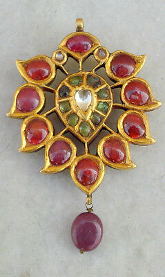 20kt vintage antique gold pendant necklace ruby emerald diamond polki