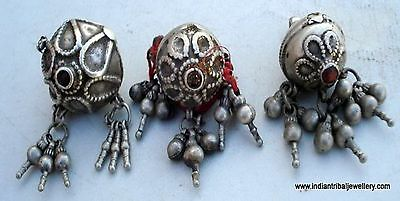 vintage antique tribal old silver head ornament beads