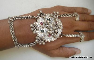 vintage antique ethnic tribal old silver dorsal hand ornament bracelet rings