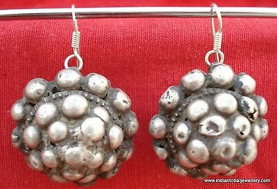 ancient antique tribal old silver ear plug earrings