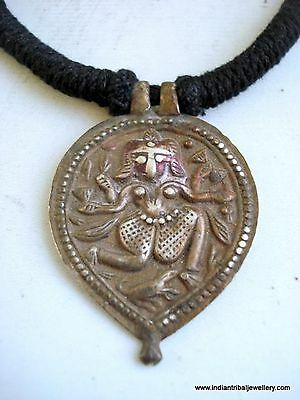 ancient antique tribal old silver god shiva amulet pendant necklace hindu