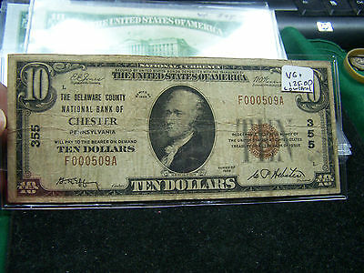 1929 $10 National Currency Chester, PA  Low Low Serial #509  Nice Note