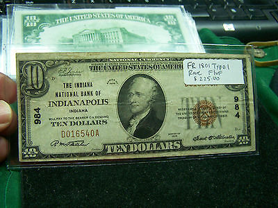 1929 $10 National Currency Indianapolis, IN  Fr 1801  Type I  Rare F/VF