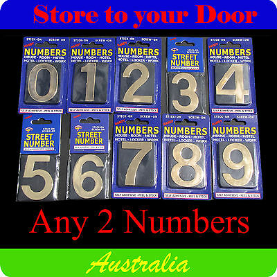 2 x House Numbers, Street Numbers, Letterbox Numbers - Self Adhesive