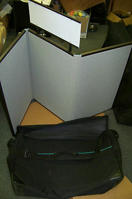 downing display products 2 sided tri fold display board with sign and carry case